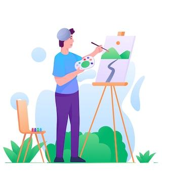 Malarz w parku płaski ilustracja