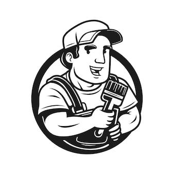 Malarz z logo vintage pędzla
