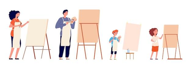 Malarze. malarstwo rodzinne, rysowanie dzieci i dorosłych na sztalugach i papierze. hobby w różnym wieku, profesjonalny projektant ilustracji wektorowych. malarz rzemieślniczy z paletą, malowanie kreatywności przez rodzinę