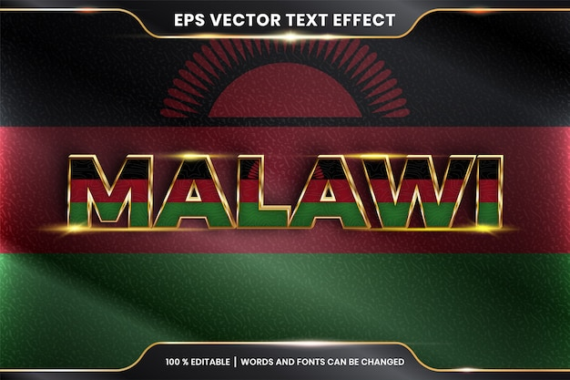 Malawi z flagą kraju, edytowalny efekt tekstowy z koncepcją koloru złota