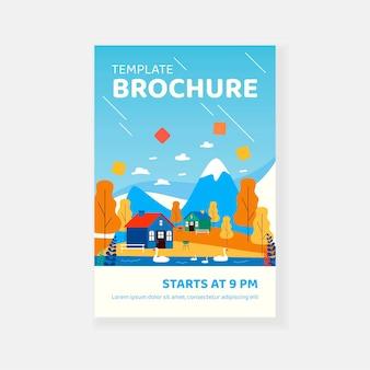 Małe domki lub domy w górach szablon broszury