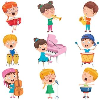 Małe dzieci bawiące się na różnych instrumentach