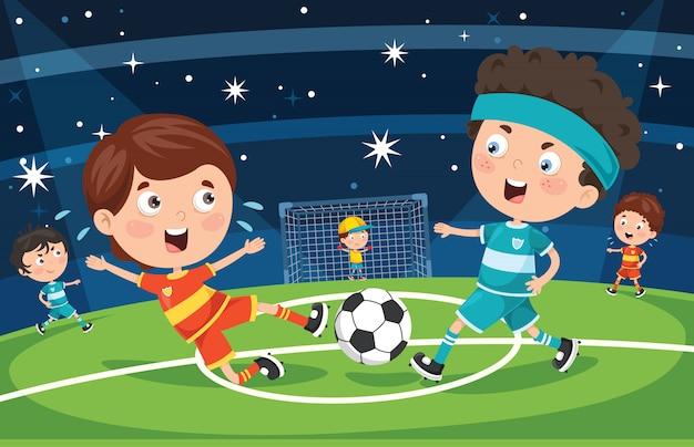 Małe dzieci bawiące się w piłkę nożną na świeżym powietrzu