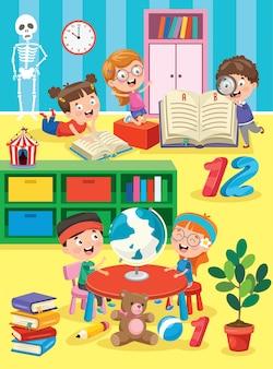 Małe dzieci nauki i zabawy w klasie przedszkolnej