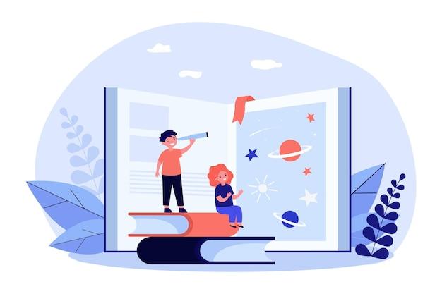 Małe dzieci odkrywają wszechświat z pomocą książki. przygoda, planeta, ilustracja wektorowa płaska gwiazda