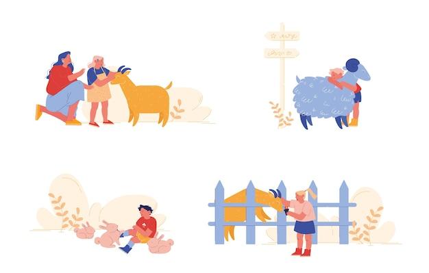 Małe dzieci odwiedzają zoo rolnicze z rodzicami. postacie dla dzieci pieszczoty zwierząt domowych opieka nad owcami, królikami i kozami. matka, dziewczynka i chłopiec spędzają czas w weekend. ludzie z kreskówek