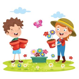 Małe dzieci ogrodnictwo i sadzenie