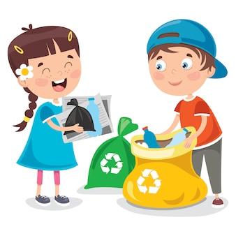 Małe dzieci, sprzątanie i recykling śmieci
