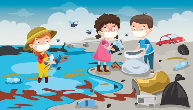 Małe dzieci, sprzątanie plaży