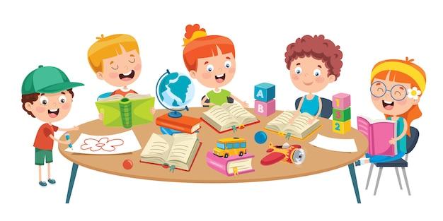 Małe dzieci studiujące w klasie