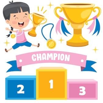 Małe dzieci świętują zwycięstwo w mistrzostwach
