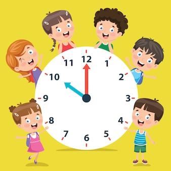 Małe dzieci trzyma zegar