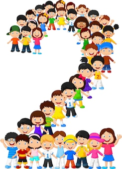 Małe dzieci tworzą numer dwa