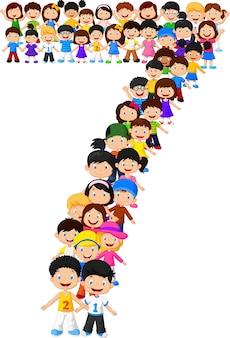 Małe dzieci tworzą numer siedem