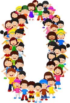 Małe dzieci tworzą numer zero