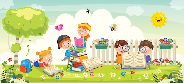 Małe dzieci w wieku szkolnym studiuje w parku