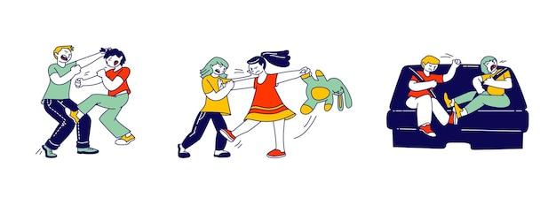 Małe dzieci walczące i kłócące się w pokoju zabaw, koledzy z klasy, rodzeństwo lub przyjaciele krzyczą i uderzają się nawzajem, sytuacja konfliktowa, nadpobudliwe dziecko, ilustracja kreskówka płaskie wektor, grafika liniowa