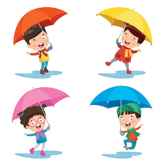 Małe dzieci z parasolami