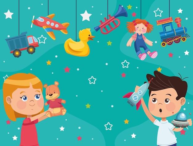 Małe dzieci z zabawkami
