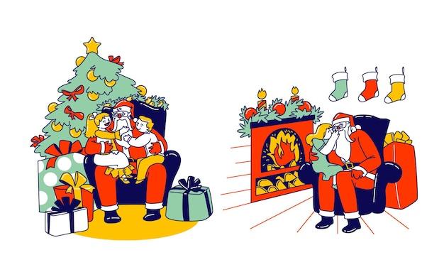 Małe dzieciaki siedzące na kolanach świętego mikołaja, szepczące mu do ucha, opowiadające sekrety, ujawniające prezent, który chciałyby dostać, mówiące, jak zachowywały się w ciągu roku. ilustracja wektorowa ludzi liniowych