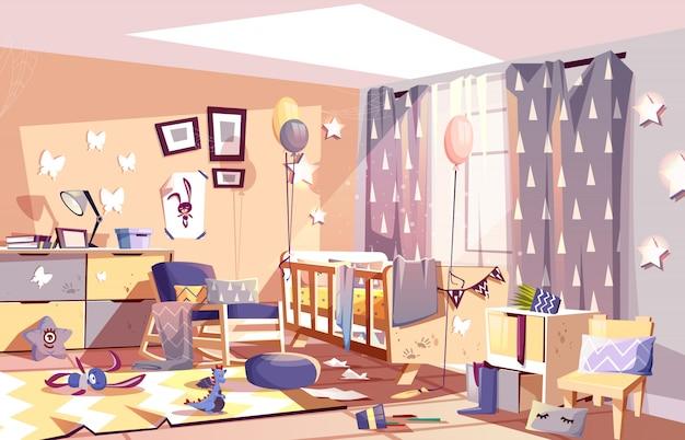 Małe dziecko pokój wnętrze brudny z rozproszone zabawki
