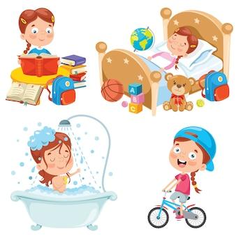 Małe dziecko robi codzienne rutynowe czynności