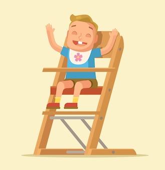 Małe dziecko siedzi na krześle na białym tle na beż