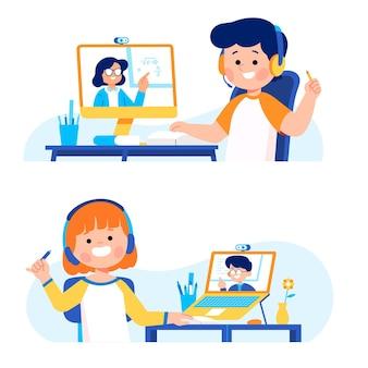 Małe dziecko uczeń robi kurs nauki online w szkole domowej z komputerem laptop internet ilustracją