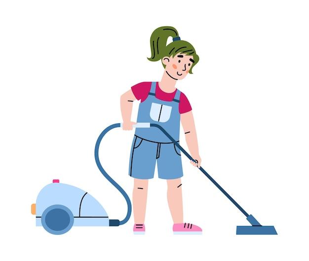 Małe dziecko zajęte pracami domowymi i odkurzanie podłogi, wektor ilustracja kreskówka na białym tle. dziewczyna pomaga w codziennych obowiązkach domowych.