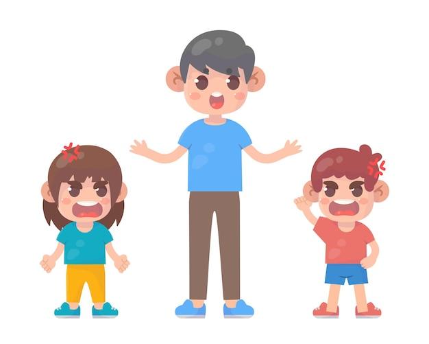 Małe dziecko złości się na tatę premium wektorów