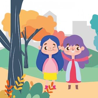 Małe dziewczynki postać z kreskówki wyraz twarzy natury scena
