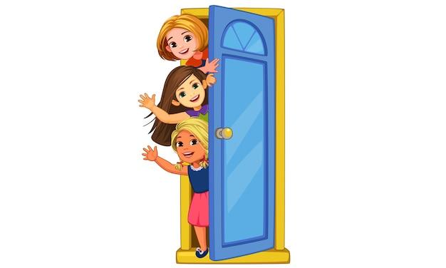 Małe dziewczynki wyglądające przez drzwi i machające ilustracją