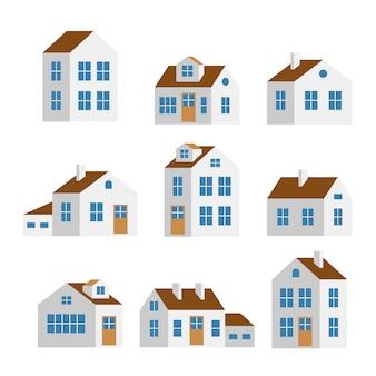 Małe i duże białe domy, na białym tle zestaw