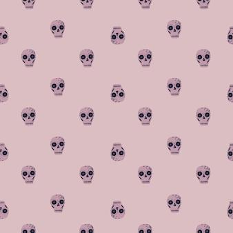 Małe kreatywne elementy czaszki bez szwu wakacje wzór. meksykańska tradycja