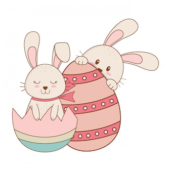 Małe króliki z jajkiem malowały wielkanocnego charakteru