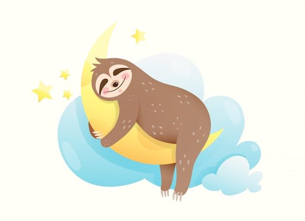 Małe lenistwo śpiące oczy zamknięte, szczęśliwy uśmiechnięty we śnie. słodki szczeniak przytulający księżyc marzący o gwiazdach i księżycu.