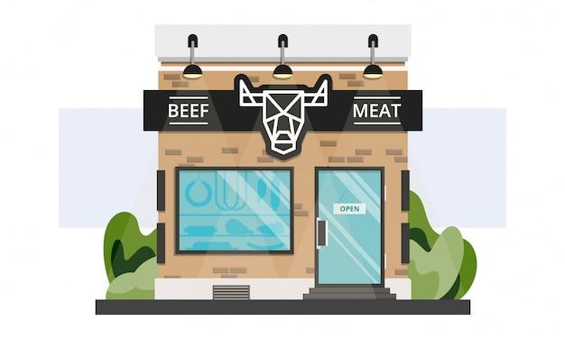 Małe lokalne wejście do sklepu mięsnego ze znakiem linii