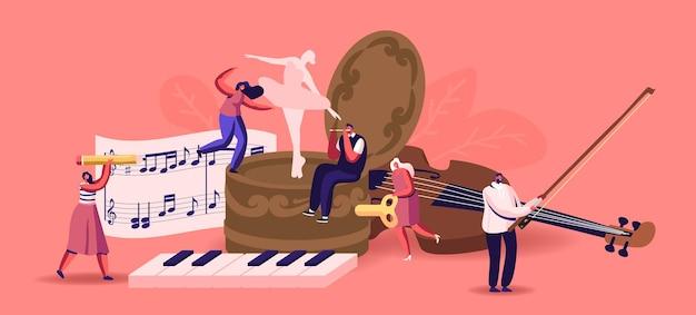 Małe męskie postacie kobiece grające na instrumentach muzycznych wokół ogromnej pozytywki z tańczącą baletnicą. ludzie z klawiaturą na skrzypcach, flecie i fortepianie zapisują notatki na pięciolinii. ilustracja kreskówka wektor