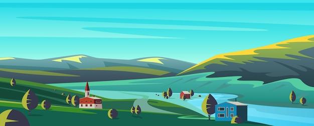 Małe miasteczko kreskówki w krajobrazie gór