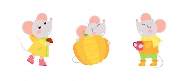 Małe myszki jesienne postacie. pocztówka z wakacji jesiennych, projekt karty z pozdrowieniami.