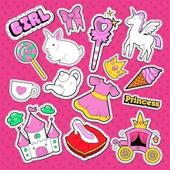 Małe naklejki i naszywki księżniczki