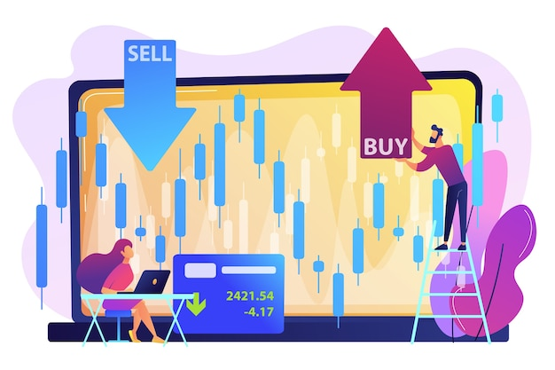 Małe osoby handlujące akcjami na laptopie z wykresem graficznym kupują i sprzedają akcje. indeks giełdowy, spółka maklerska, koncepcja danych giełdowych.