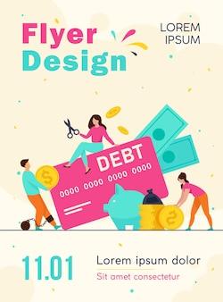 Małe osoby w pułapce szablonu ulotki zadłużenia karty kredytowej