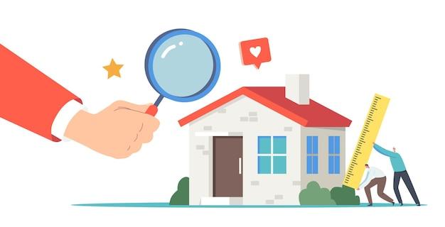 Małe postacie agentów nieruchomości z ogromnym władcą przeprowadzającym inspekcję domu. wycena nieruchomości, profesjonalna wycena domu na sprzedaż