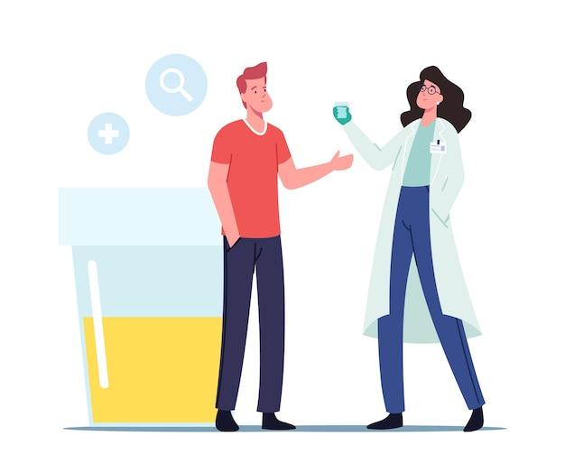 Małe postacie lekarza i pacjenta stoją przy ogromnym plastikowym pojemniku z próbką moczu