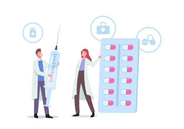 Małe postacie lekarza w szacie medycznej trzymającej ogromne strzykawki i tabletki leków w blistrze. leczenie chorób