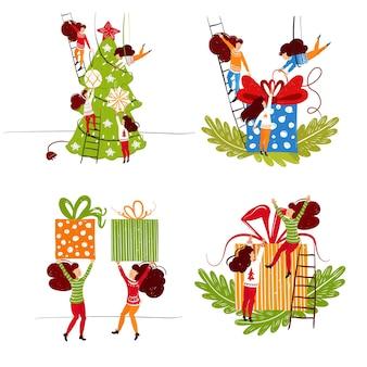 Małe postacie ludzi dekorujące choinkę i prezenty dekoracje noworoczne