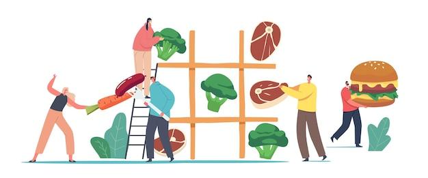Małe postacie męskie i żeńskie grające w ogromną grę w kółko i krzyżyk ze zdrowymi i niezdrowymi produktami mięso, warzywa i fast food. odżywianie wegetariańskie i mięsne. ilustracja wektorowa kreskówka ludzie