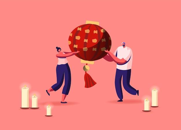 Małe postacie męskie lub żeńskie niosą ogromną czerwoną chińską latarnię z płonącymi świecami wokół