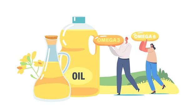 Małe postacie noszą ogromne kapsułki z tłuszczami omega w pobliżu szklanego słoika i dzbanka z olejem rzepakowym. produkcja świeżego oleju roślinnego, wzmocnione naturalne produkty organiczne. ilustracja kreskówka wektor